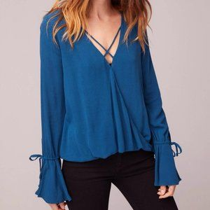 Band of Gypsies Teal Blue Rome Bell Sleeve Top